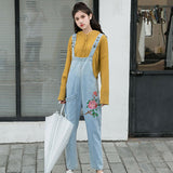 LOOSE JUMPSUIT LARGE SIZE FLOWER EMBROIDERY DENIM BOTTOMS