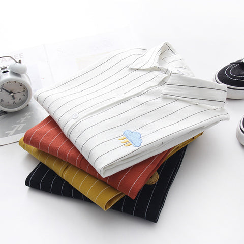 IUYZW STRIPED WEATHER EMBROIDERY TOPS