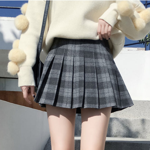 IUYZW PLAID HIGH WAIST PLEATED SKIRTS