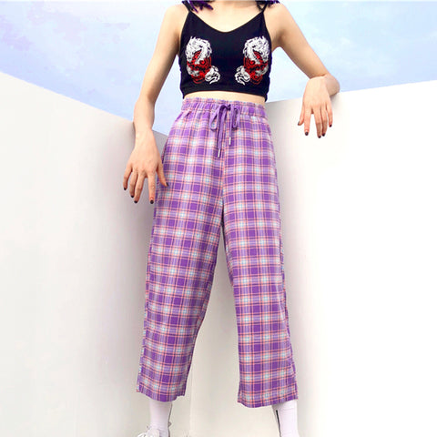SlogPith GIRL PLAID CASUAL TROUSERS
