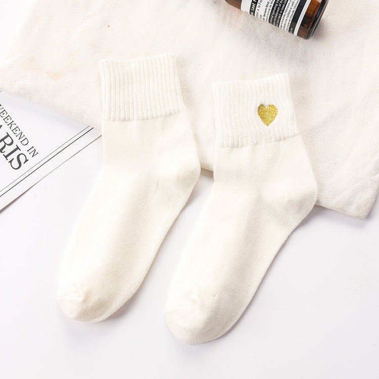 IUYZW LOVE EMBROIDERY COTTON SOCKS