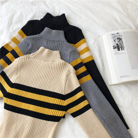 IUYZW COLORBLOCK STRIPED KNIT TOPS