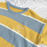 YELLOW/BLUE STRIPE SWEATER