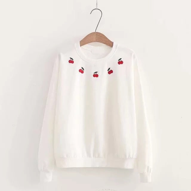 SlogPith JAPANESE CHERRY EMBROIDERY SWEATERS