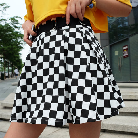 SlogPith BLACK AND WHITE PLAID PRINT SKIRTS