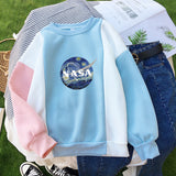 NASA ART O-NECK PATCHWORK SWEATERS