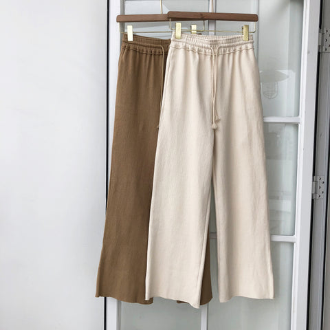 SlogPith COTTON ELASTIC WAIST STRAIGHT CASUAL PANTS
