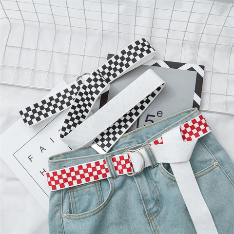 IUYZW RED AND WHITE BLACK AND WHITE PLAID CANVAS BELTS