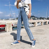 SlogPith STRAIGHT HIGH WAIST DENIM PANTS
