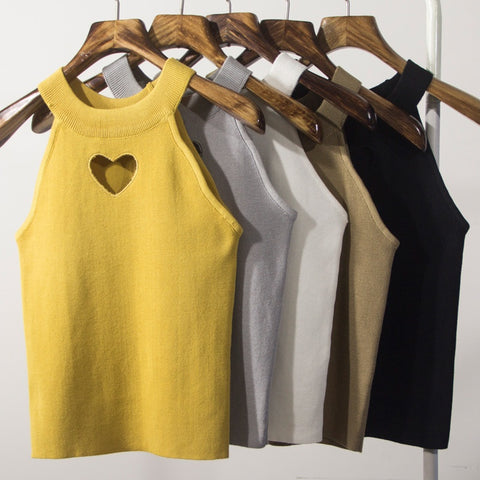 IUYZW SHORT HEART CUTOUT TANK TOPS