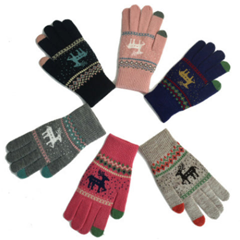 IUYZW CHRISTMAS SIKA DEER GLOVES