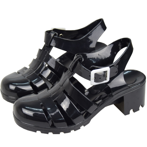 SlogPith BLACK JELLY SANDALS