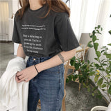 ROUND NECK SHORT SLEEVE LETTER PRINTED TEES