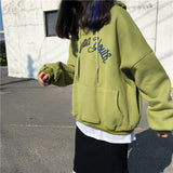 SlogPith COLLEGE STYLE LETTER EMBROIDERY HOODED SWEATERS