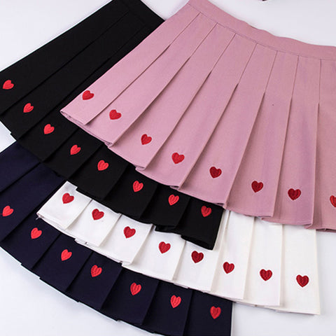 IUYZW LOVE EMBROIDERED PLEATED SKIRTS