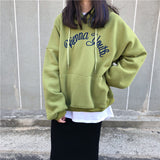 COLLEGE STYLE LETTER EMBROIDERY HOODED SWEATERS