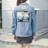 "IUYZW ""WHERE IS MY MIND"" HOLE PATCH DENIM JACKETS"
