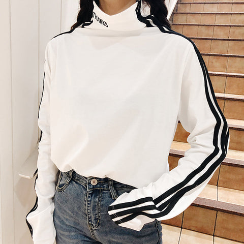 IUYZW THREE-STRIPED HIGH-NECKED TOPS