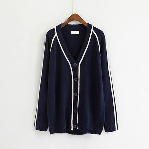 2 COLORS STRIPE BUTTONS JACKET