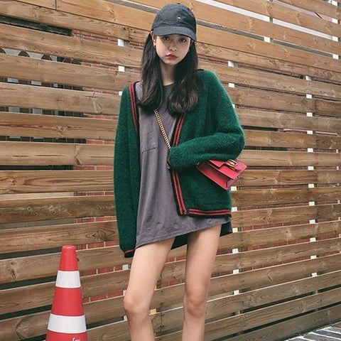 2 COLORS KNITTING LOOSE JACKETS
