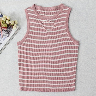 SlogPith STRIPES HEART CUTOUT TOPS