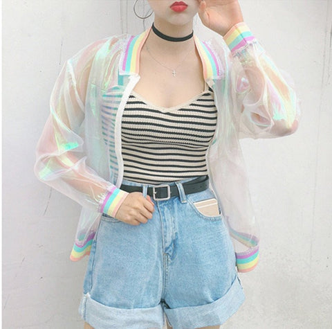 IUYZW RAINBOW SEE THROUGH JACKET
