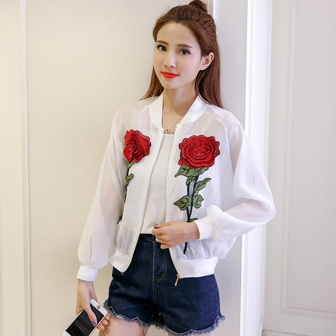 THREE ROSES EMBROIDERY SEE THROUGH JACKET