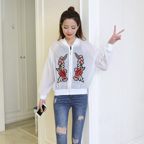 RED PEONY EMBROIDERY SEE THROUGH JACKET