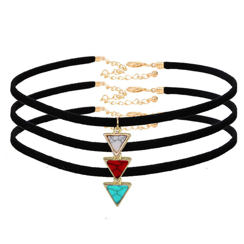 IUYZW SHORT TRIANGLE CHOKERS