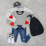 STRIPED HEART SWEATER