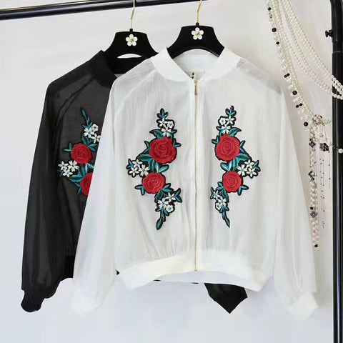 BLUE ROSE EMBROIDERY SEE THROUGH JACKET