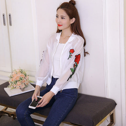 ROSE EMBROIDERY SEE THROUGH JACKET