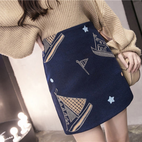 SAILBOAT EMBROIDERY SKIRT