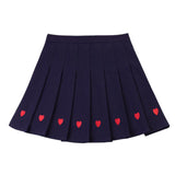 SlogPith LOVE EMBROIDERED PLEATED SKIRTS