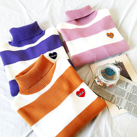 STRIPED TURTLENECK HEART SWEATERS