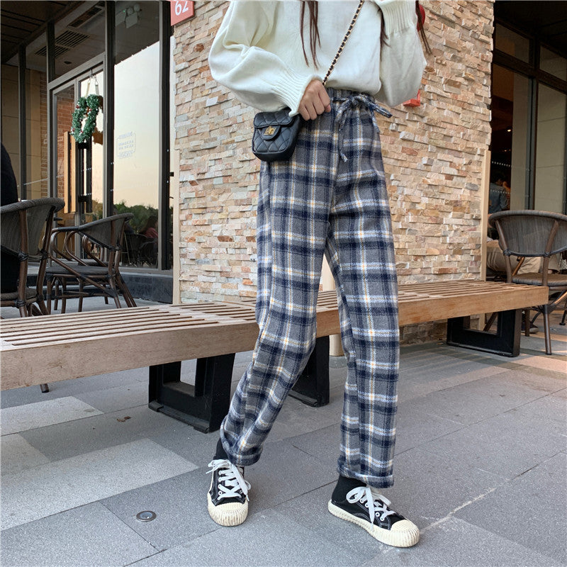 SlogPith PLAID CASUAL PANTS