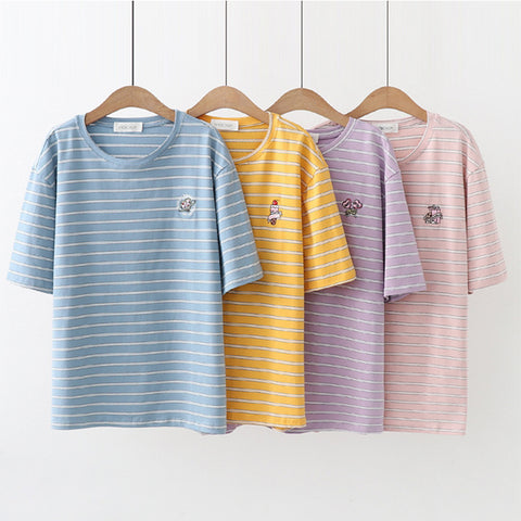COLLEGE STYLE STRIPED TEES
