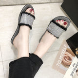 IUYZW RHINESTONE SURFACE SLIPPERS