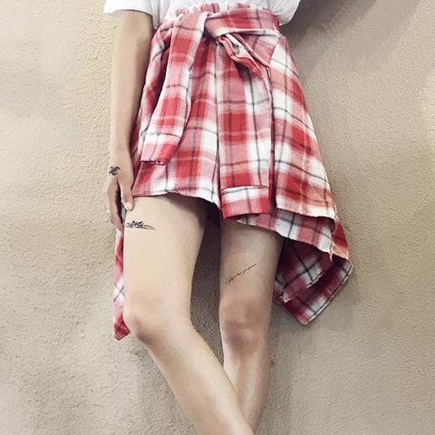 IUYZW IRREGULAR PLAID SKIRTS