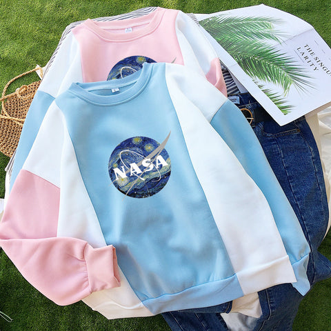 SlogPith NASA ART O-NECK PATCHWORK SWEATERS