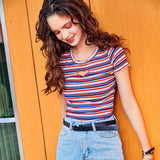 IUYZW STRIPED HEART TEES