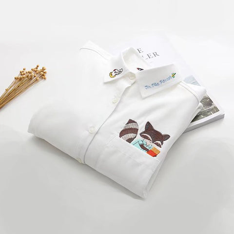 IUYZW SMALL FOX EMBROIDERED SHIRT (PLUS VELVET)