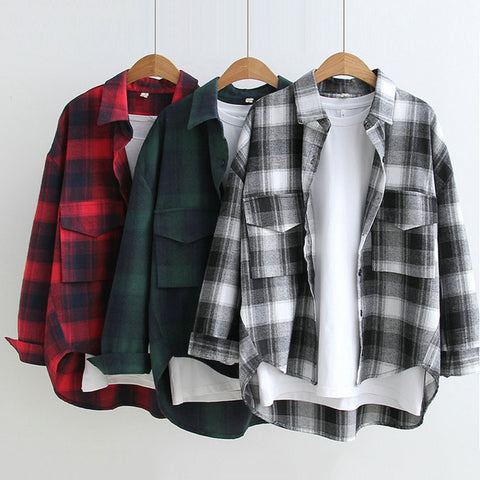 SlogPith JAPANESE-STYLE MINIMALIST PLAID PRINT TOPS