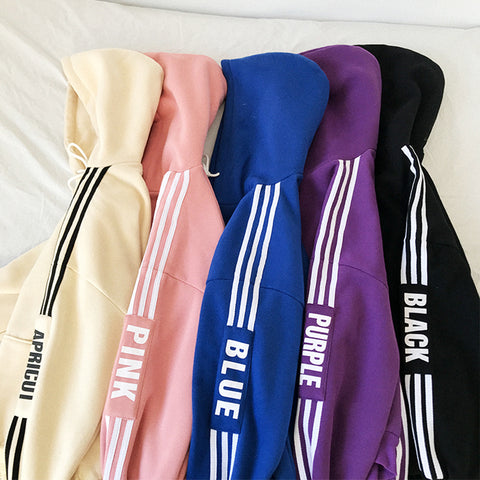 IUYZW SIDE STRIPED LETTER LOOSE SWEATERS
