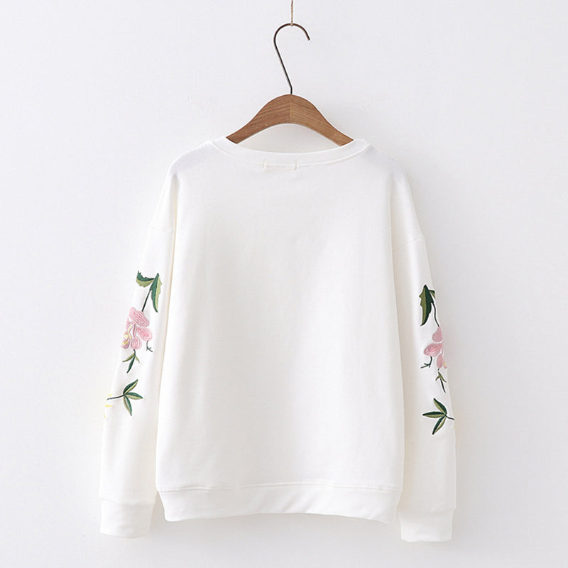 COLLEGE STYLE LOOSE EMBROIDERED SWEATERS