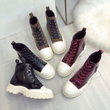 SlogPith NEW PU ROUND HEAD BOOTIES