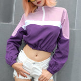 SlogPith COLORBLOCK ZIPPER CASUAL TOPS
