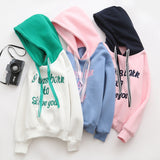 SlogPith JAPANESE STYLE LETTER EMBROIDERY HOODED SWEATERS
