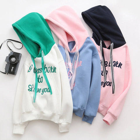 JAPANESE STYLE LETTER EMBROIDERY HOODED SWEATERS