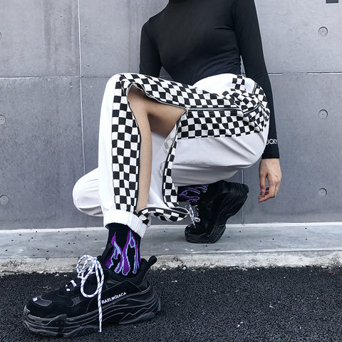 SIDE ZIPPER CHECKERBOARD PLAID CONTRAST PANTS
